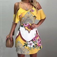 Women Floral Print Cold Shoulder Casual Dress Bohemian Loose Above Knee Mini Dress V-Neck V Collar Summer Beach Dress splited design random floral print cold shoulder dress