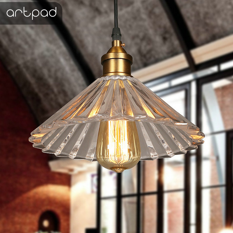 Artpad Creative Design Single Head Clear Glass Pendant Lights AC110V-220V E27 LED Vintage Bar Lamp for Living Room Bedroom Decor gilbert e big magic creative living beyond fear