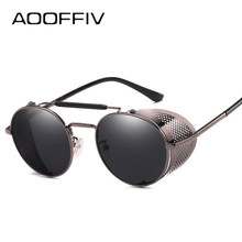 AOOFFIV UV400 Retro Steampunk óculos de Sol Das Mulheres Dos Homens Óculos  de Sol do Desenhador Do Vintage Lente Vermelha Óculos. de9cbb56fc