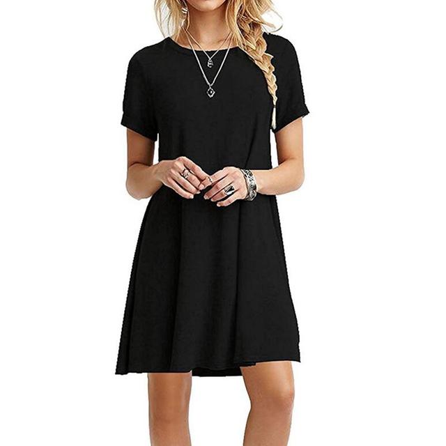 Ksenia 2017 Fashion Summer Dress Solid Loose Women Dress Casual plus size S-2XL Multi Color vestido