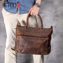 AETOO Retro head cowhide briefcase, mad horse leather handbag, casual shoulder crossbody bag
