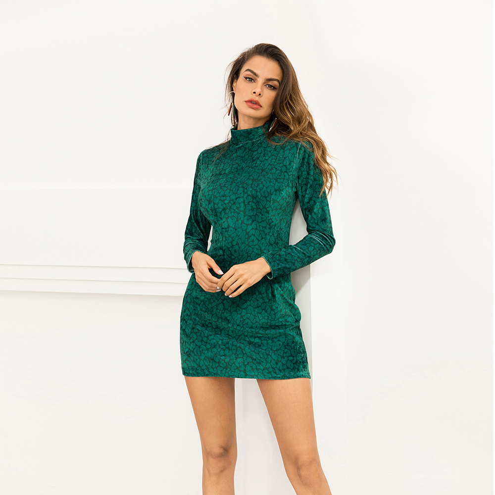 Turtleneck velvet winter dress women  Office Lady pull femme Autumn green party female