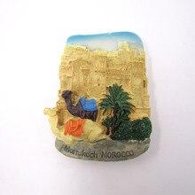 B18 Marrakech Morocco Animal Camel Hand Painted 3D Resin Fridge Magnet Sticker Countries City Tourism Souvenir Home Decor Craft