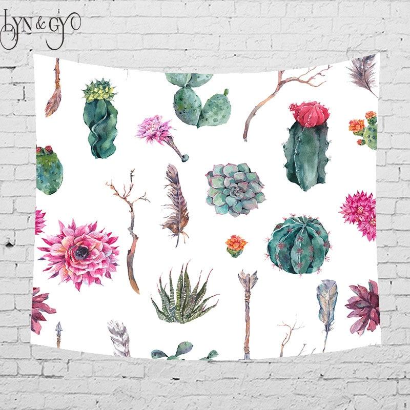 Floral Cactus Watercolor Hanging Wall Tapestries Mandala Bohemian Tapestry Landscape Wallpaper Art Shawl Throw 5sizes