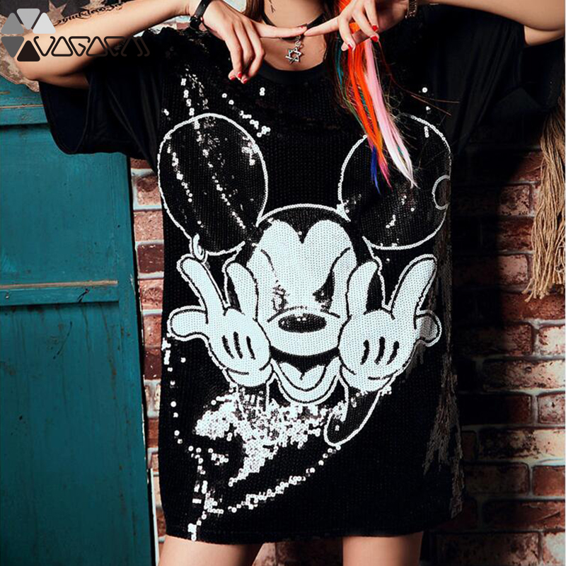 Women Summer Plus Size Dress Short Sleeve Streetwear Casual Loose O-Neck Minnie Mickey Mouse Sequin Party Club Mini Dresses 15