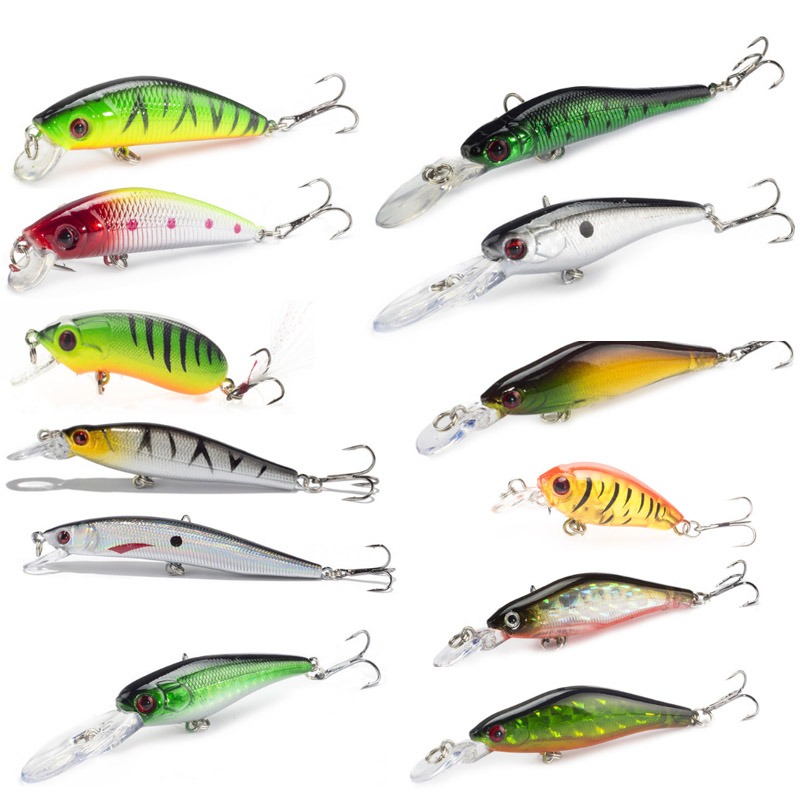 SEALURER 1PCS Fishing Lure Minnow Hard Bait with 2 Fishing Hooks Fishing Tackle Lure 3D Eyes allblue slugger 65sp professional 3d shad fishing lure 65mm 6 5g suspend wobbler minnow 0 5 1 2m bass pike bait fishing tackle