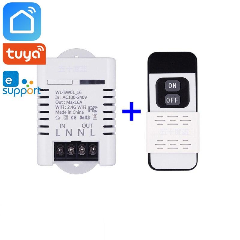 Tuya Smart Life Ewelink 2.4ghz RF Wifi Smart Switch Relay 10A 16A Wireless Remote Control Works With Alexa Google Home Mini