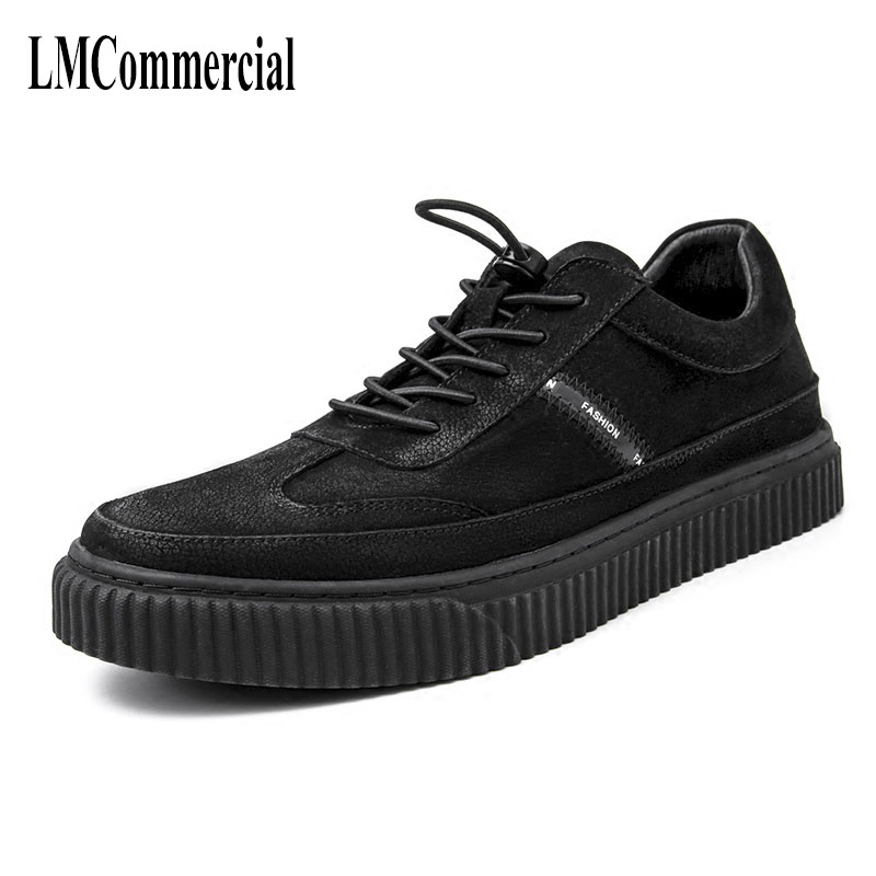 Black men's shoes new Korean youth all-match matte leather shoes with thick bottom autumn winter British retro men boots cowhide 2017 new autumn winter british retro men shoes zipper leather breathable sneaker fashion boots men casual shoes handmade