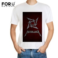 FORUDESIGNS Tee Men White Short Sleeve T Shirt Metallica Skull Print Heavy Metal Rock Hip Hop