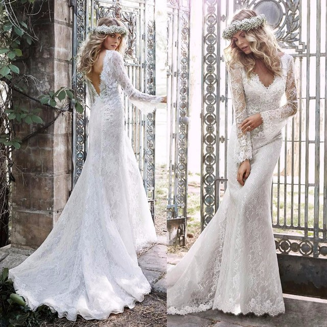2017 Sexy Mermaid Wedding Dresses Vestido De Noiva Bridal Dress Popular Custom  Made Hot Lace Backless V Neck Long Sleeve Vintage b0b2469822e8
