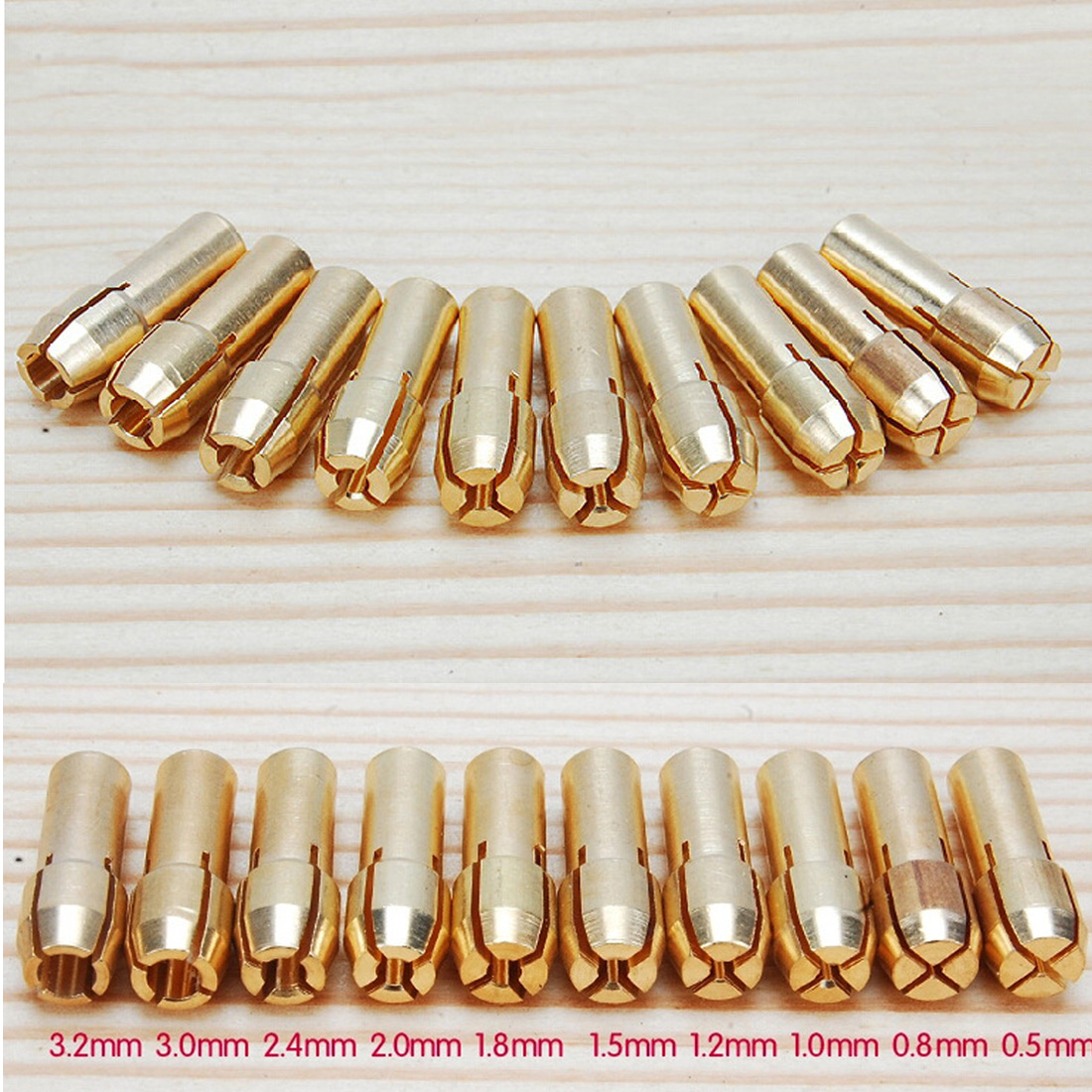0.5-3.2mm 4.3mm Shank 10Pcs /set Brass Drill Chucks Collet Bits for Dremel Rotary Tool0.5-3.2mm 4.3mm Shank 10Pcs /set Brass Drill Chucks Collet Bits for Dremel Rotary Tool