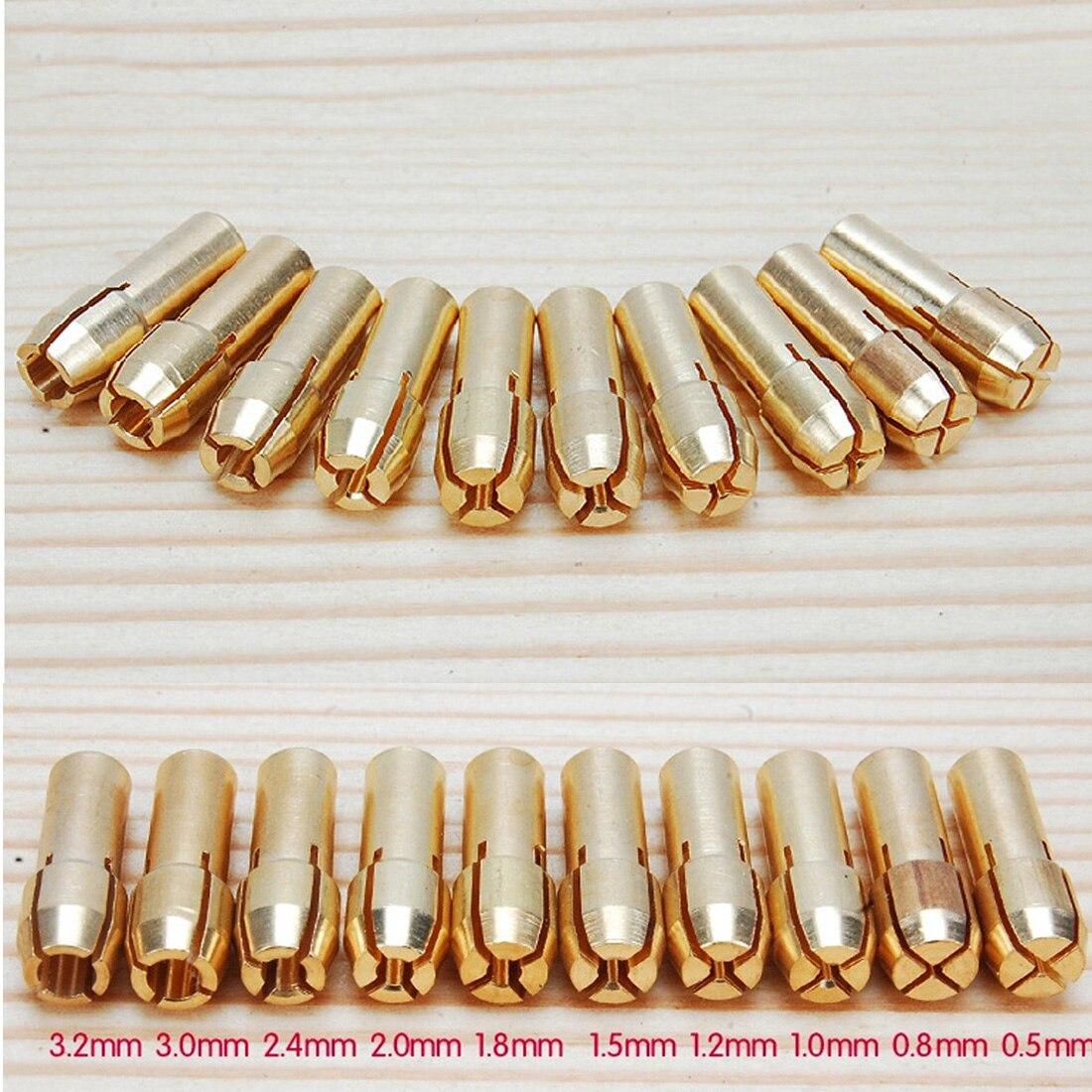 10Pcs /set Brass Drill Chucks Collet Bits 0.5-3.2mm 4.3mm Shank For Dremel Rotary Tool