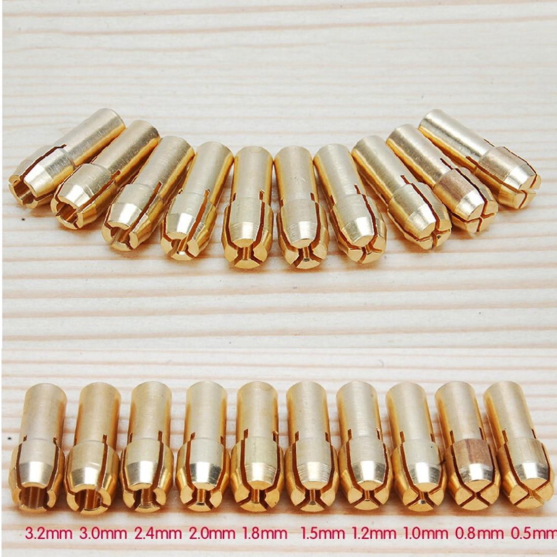 Drill Chuck Collet Bits 0.5-3.2mm 10pcs/set Brass 4.3mm Shank For Dremel Rotary Tool Golden
