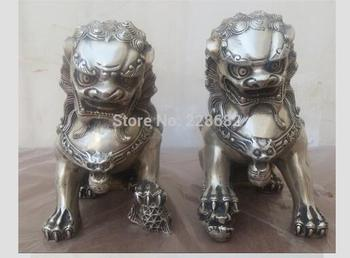 1 Pair Chinese FengShui Tibet  Lion /Foo Fu Dog Statue High:15CM /item Crafts Tibetan Silver decoration bronze factory outlets