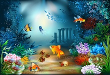 Laeacco Underwater World Fish Coral Reef  Photocall Photography Backgrounds Customized Photographic Backdrops For Photo Studio