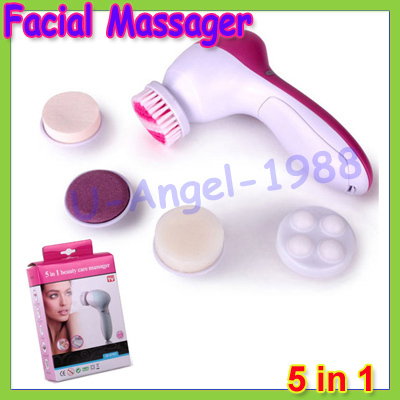 Free shipping+New 5 in 1 Electric Wash Face Machine Facial Pore Cleaner Body Cleaning Massage Mini Skin Beauty Massager Brush