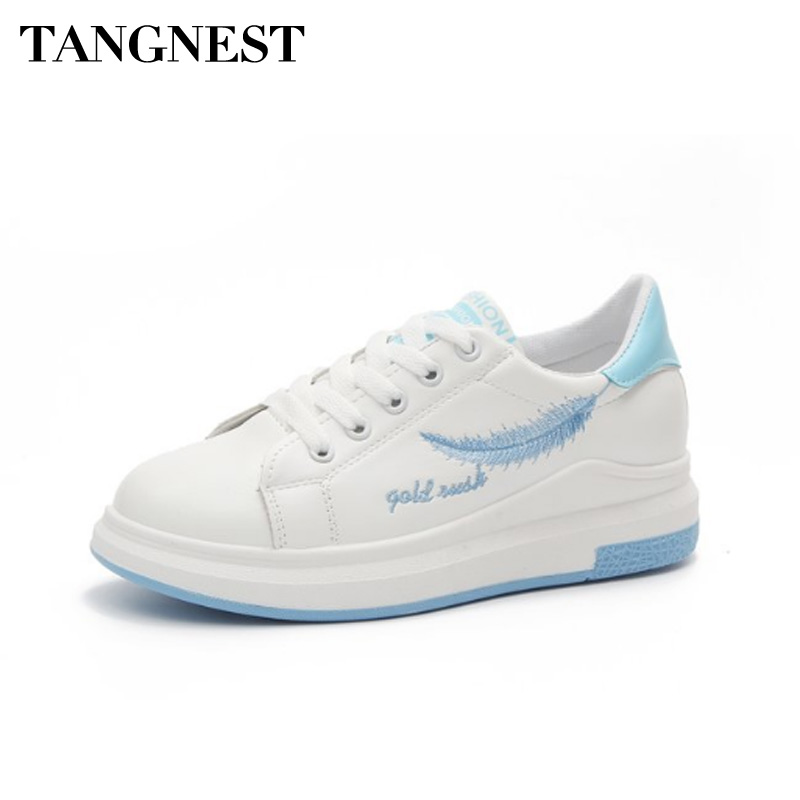 Tangnest Spring Autumn Women Flats Leaf Print Casual Shoes Round Toe Comfortable Lace Up Sneakers Fashion Women Shoes XWC1319