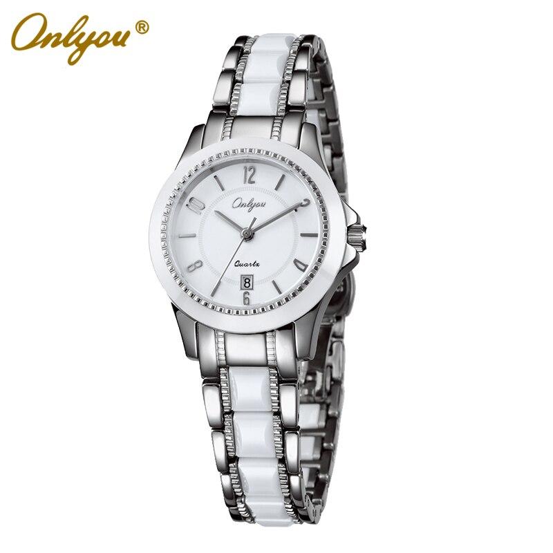 Onlyou Brand White Ceramic Watch Women font b Men b font Luxury Quartz Watch Fashion Business