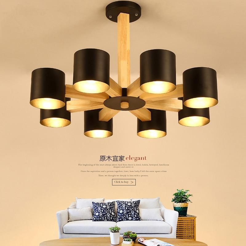 Nordic IKEA Massivholz Deckenleuchte Wohnzimmer Deckenleuchten Schlafzimmer Restaurant LED Einfachen Kreative BeleuchtungChina