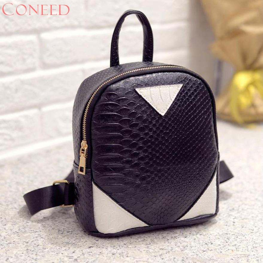 CONEED School Bags Fashion Charming Nice Women Canvas Rucksack concise Serpentine School Book Shoulder Bag Oct16