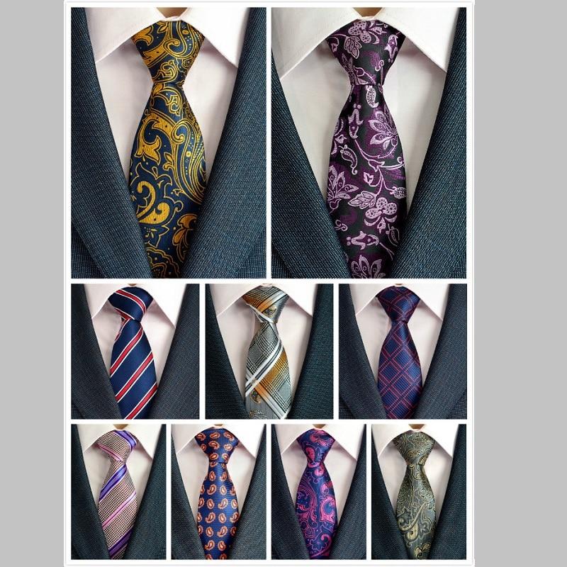Silk Men Tie 8cm Plaid Paisley Neck Kravaty pro muže Necktie Classic Wear Business Wedding Tie Party Gravatas 1200 Needles