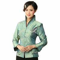 Light Blue Chinese National Embroidery Floral Jacket Silk Satin Coat Outwear Floral Butterfly S M L