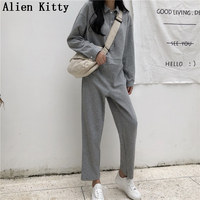 Alien Kitty Solid Loose Grey Full Length Fashion Casual Women Jumpsuit Evening Party High Quality Pants Jumpsuits Overalls