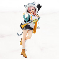 Anime Figures Sexy Super Sonico Guitar girl doll Pvc Action Figure 20cm Tiger Hoodie Version Model Collection Toys Gift