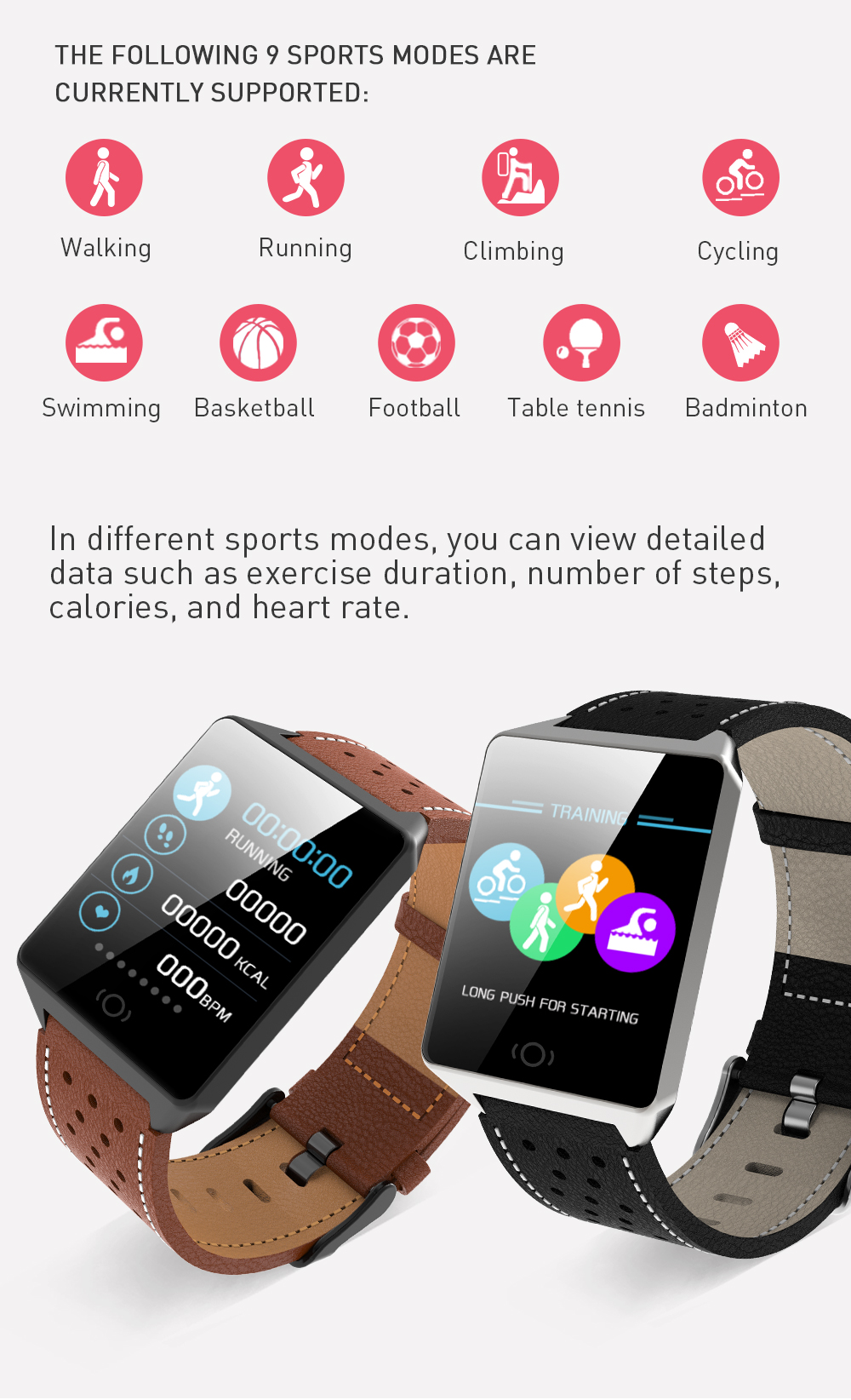 CK19 Smartwatch IP67 Waterproof Wearable Device Bluetooth Pedometer Heart Rate Monitor Color Display Smart Watch For AndroidIOS (4)