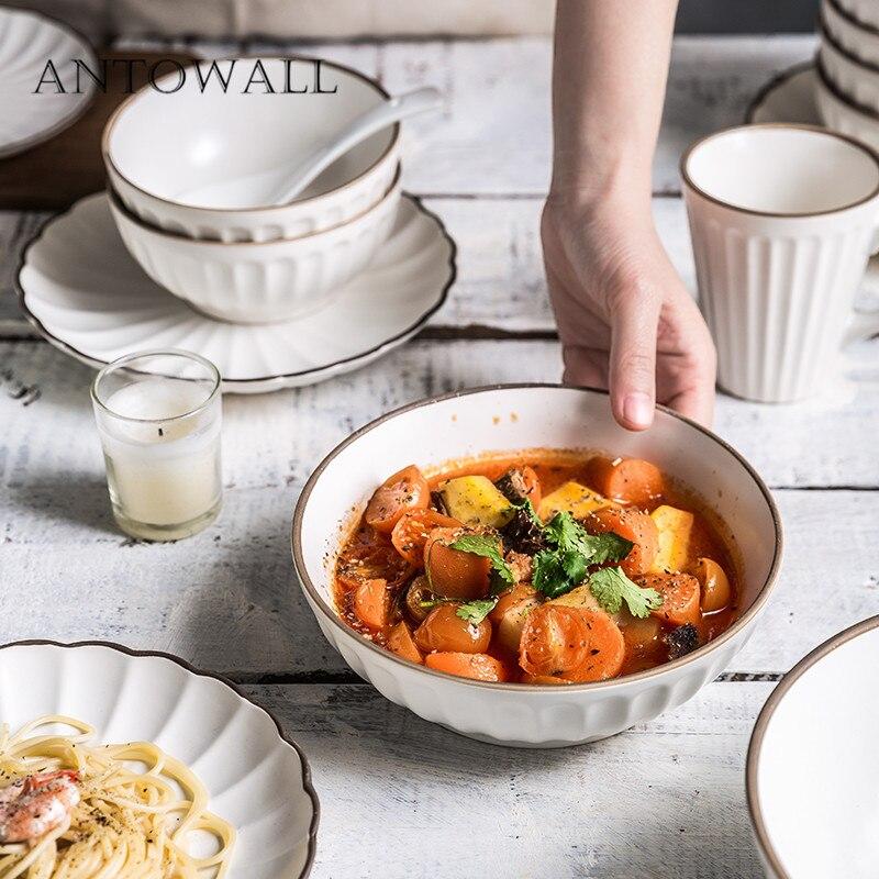 ANTOWALL белый набор керамической посуды золотой край бытовой рисовый салат миска для супа тарелка кружка набор посуды