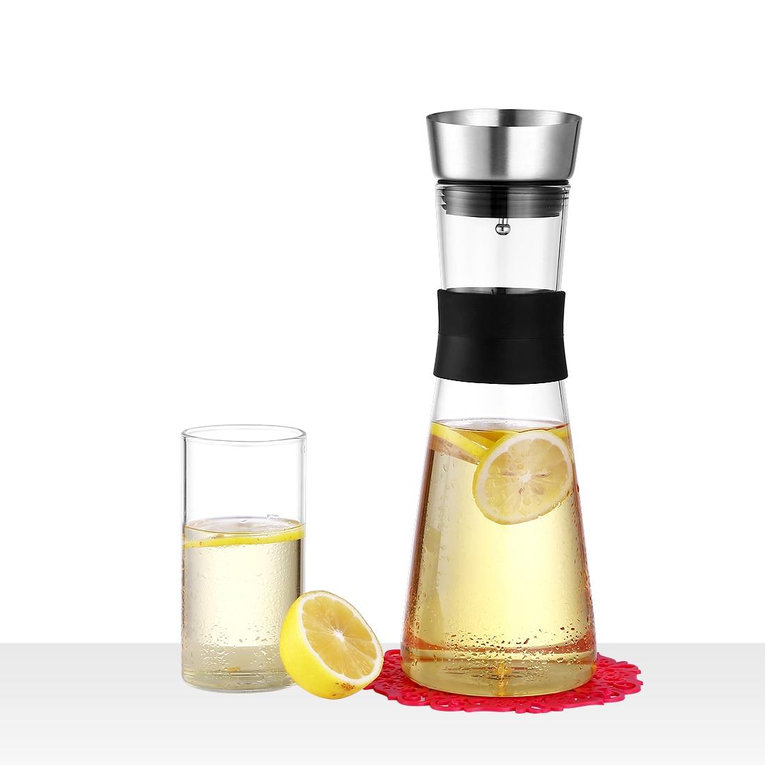 ONEISALL Glas Jug Koffie Sap Pot Huishoudelijke Karaf Pitcher met Rvs Zetgroep Sap Water Container 1L/1.5L-in Transparant van Huis & Tuin op  Groep 1