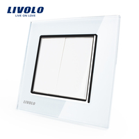 Manufacturer Livolo Luxury White Crystal Glass Panel Two Gangs Push Button Switch Smart Home VL C7K2