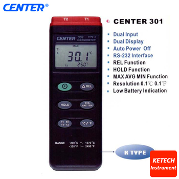 K Type Dual Input PC Interface Digital Industrial Thermometer CENTER301