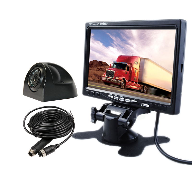 FREE SHIPPING 12V 7 Color LCD Car Reverse Monitor + Night Vision IP67 Waterproof SONY Side Rear View Camera for Bus Van Truck diysecur 4pin dc12v 24v 7 inch 4 split quad lcd screen display rear view video security monitor for car truck bus cctv camera