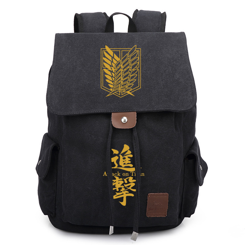 2017 New Anime Attack on Titan Canvas Backpack Cosplay Scouting Legion Printed Bag Unisex Travel School Bag Bookbag sosw fashion anime theme death note cosplay notebook new school large writing journal 20 5cm 14 5cm