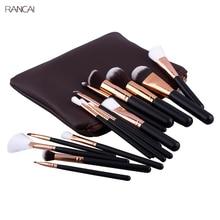 15pcs Pink Makeup Brushes Set Pincel Maquiagem Powder Eye Kabuki Brush Complete Kit Cosmetics Beauty Tools with Leather Case