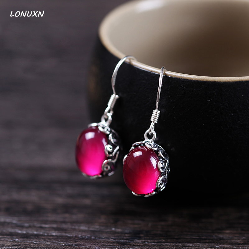High quality 925 silver women jewelry retro bohemian long earrings natural stone red corundum garnet green chalcedony girls gift