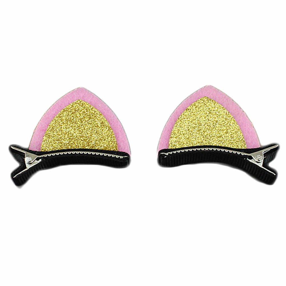1 pinza de oreja de gato encantadora con orejas de lentejuelas Clip de pelo para chico dulce de ventilador de forma bonita horquillas para niños accesorios