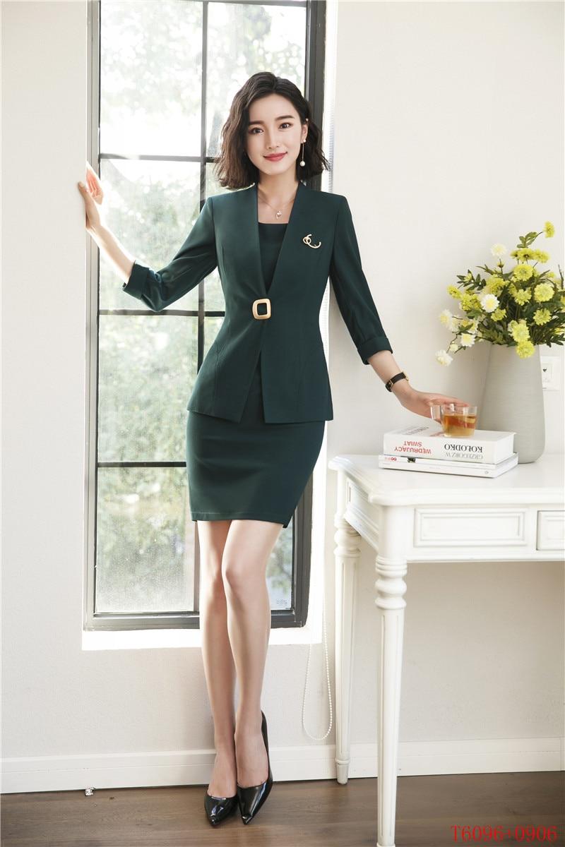 kaki Blazer Vêtements Robe Moitié vert Femmes Costumes Travail Ensembles Dames Les Pour Noir Uniformes Manches D'affaires blanc Et Blanc De Veste HnfxwS0P