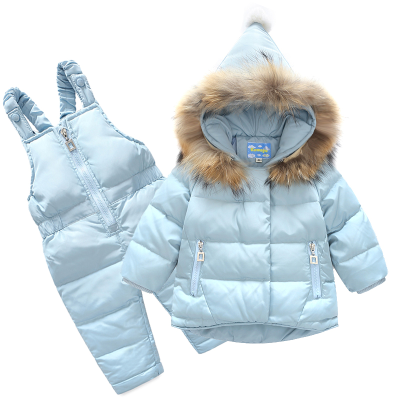 Russia Winter Children Clothing Sets Snow Jackets Pant 2pcs Set Baby Girls Duck Down Coats Jacket Fur Hood Waterproof Outwear 2016 winter boys ski suit set children s snowsuit for baby girl snow overalls ntural fur down jackets trousers clothing sets