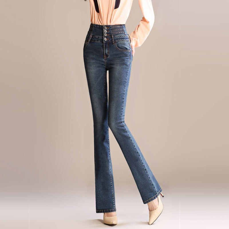 wholesale sales the latest many choices of Womens Flare Jeans For Spring Autumn Ladies New Fashion Retro Slim High  Waist Straight Jeans Pants For Tall Thin Women S to 5XL