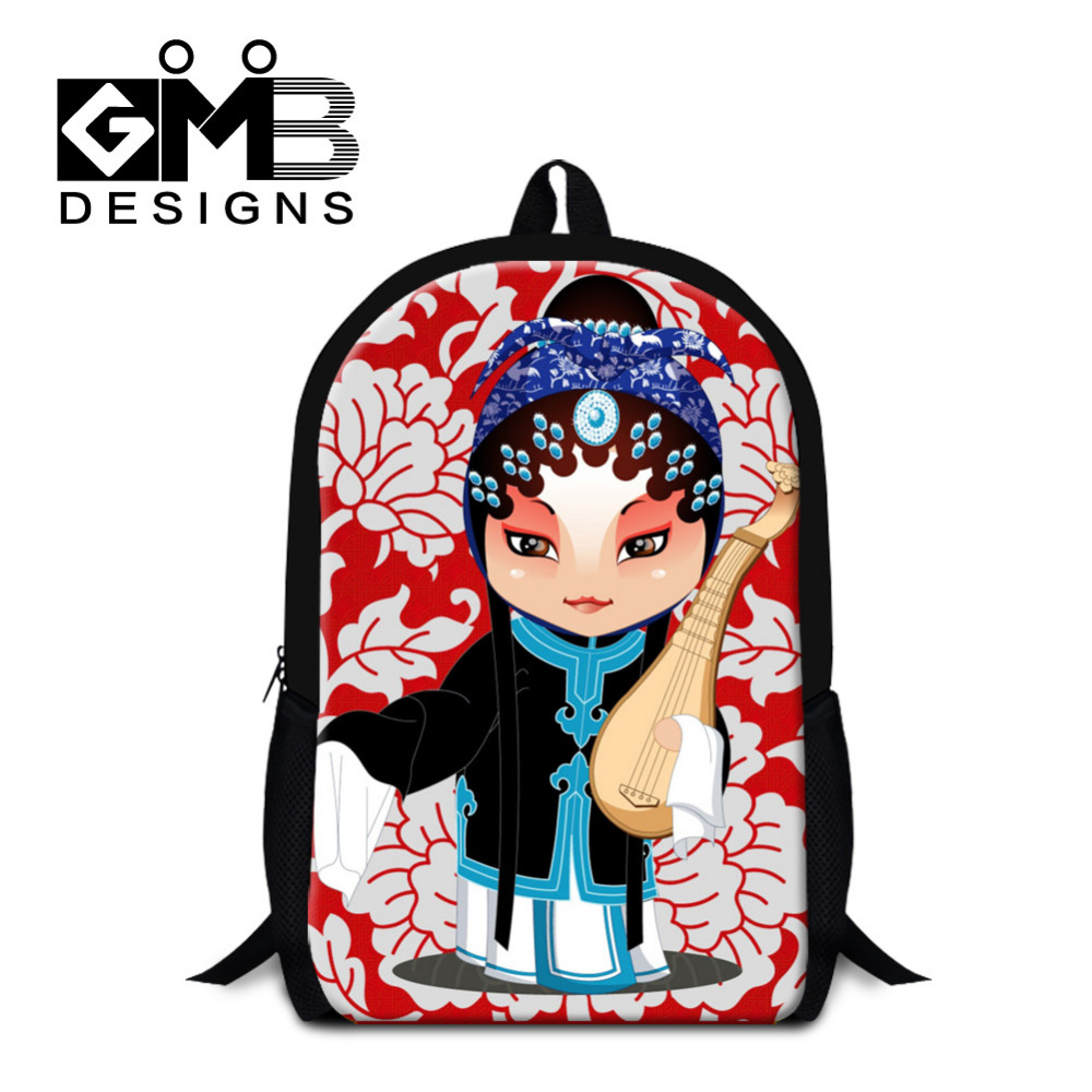 School bags online cheap - Fashion Chinese Style Children School Bags 3d Peking Opera Print Shoulder Backpack Kid Book Bag