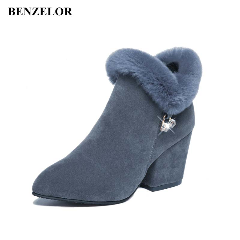 BENZELOR 2018 Winter Women Shoes Woman Boots Square High Heels Ankle Pointed Toe Faux Fur Fashion Warm Luxury Ladies Boot Black enmayla autumn winter chelsea ankle boots for women faux suede square toe high heels shoes woman chunky heels boots khaki black