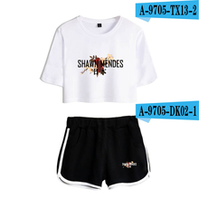 Shawn Mendes Crop Top Set Cropped Tumblr Plus Size Tops And Shorts O-Neck Crop Top Women Cotton Two Piece Sets Harajuku Femme недорого