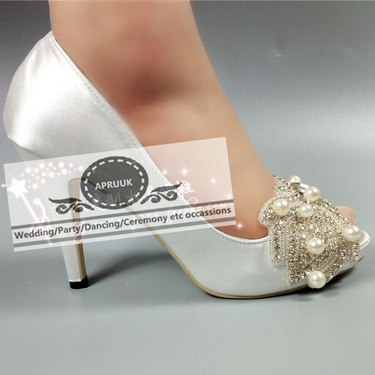 Plus size super high heels satin wedding shoes bride white open peep toes bling crystal pearls butterfly-knot bridal pumps HS322 new arrival spring autumn plus size 11 12 13 14 15 16 17 18 19 20 fashion elegant butterfly knot super high heels single shoes