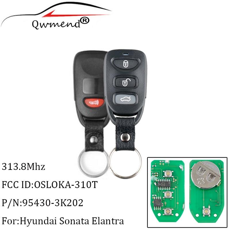 QWMEND 3 + 1 кнопки, дистанционный ключ-брелок от машины, 313,8 МГц для Hyundai Elantra Sonata 2007-2010 для Accent 2011 2012, ключи от OSLOKA-310T