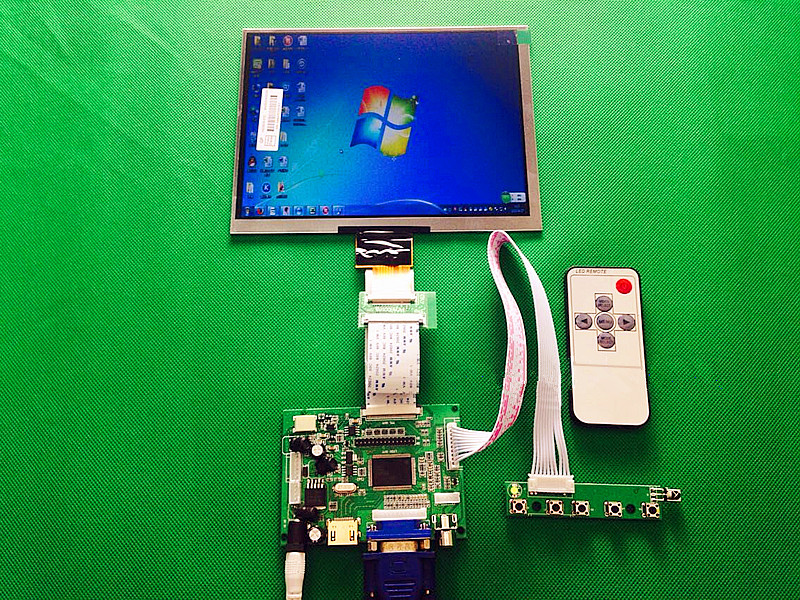 HDMI/VGA/AV Control Driver Board + 8inch HE080IA-01D 1024*768 IPS high-definition LCD Display For Raspberry Pi thani hdmi vga 2av 50pin ttl lvds controller board moudle 8inch 1024 768 he080ia 01d lcd display screen matrix for raspberry pi