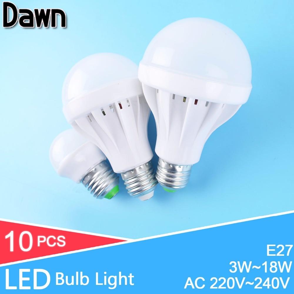 10pcs LED Light Bulb E27 3W 5W 7W 9W Lampada LED 12W 18W 220v 240v LED Light SMD 5730 LED Bulb Energy Saving Light 10Pcs/Lot цена