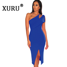 XURU Summer New Womens Sexy Dress Fashion One Shoulder Split Black White Irregular Sleeveless