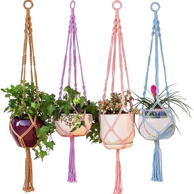 Colorful Macrame Plant Hanger Hanging Planter Holder Basket For Garden Flower Pot Indoor Outdoor Decoration 40 Inch 1m